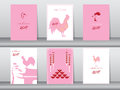 Set of chinese new year 2017cards,chinese cards,poster,template,greeting cards,animals,cute,rooster,Vector illustrations