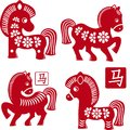 Set of chinese traditional horses as symbol of yea year red isolated on white Royalty Free Stock Photos