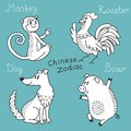 Set of the chinese zodiac signs vector illustration Stock Photography