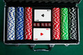 Set of chips and cards for the poker. Royalty Free Stock Images