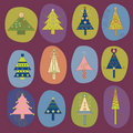 Set of Chirstmas tree design Royalty Free Stock Photography