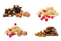 Set of chocolate with nuts and berries Royalty Free Stock Photo