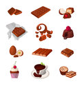 Set of a chocolate products. Various pastry sweets. Isolated realistic vector illustrations. Royalty Free Stock Photo