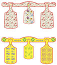Set of chopping boards kitchen wooden and plastic decorated Stock Images