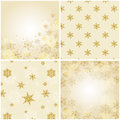 Set of christmas backgrounds with snowflakes vector illustration two are seamless patterns and the other two Royalty Free Stock Image