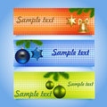 set of Christmas banners with baubles and stars Royalty Free Stock Photo