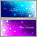 Set of christmas banners with stars and sparks two for your business Royalty Free Stock Image
