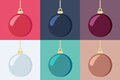 Set of christmas baubles shiny hanging in six different color variants illustration Royalty Free Stock Photography