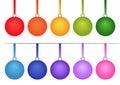 Set of Christmas Bulbs on White Background Royalty Free Stock Photo