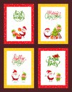 Christmas Set of Cards with Cartoon Characters