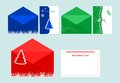 Set of christmas cards in envelopes Royalty Free Stock Image