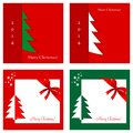 Set of christmas cards four on red and green backgrounds Stock Photo