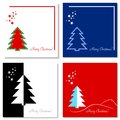 Set of christmas cards four on various backgrounds Stock Photography