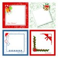 Set of christmas cards four on various backgrounds Stock Photos