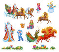 Set Christmas celebrations, Santa, dances, songs in winter. Cheerful holiday in winter of people