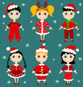 Set of christmas chilgren. Royalty Free Stock Photography