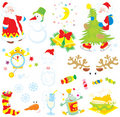Set of Christmas clip-arts Royalty Free Stock Photos