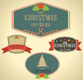 Set of christmas decoration and vintage new year labels illustration Stock Images