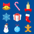 Set of christmas decorations flat colors on blue Stock Images