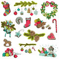 Set of christmas elements for design and scrapbook in Royalty Free Stock Image