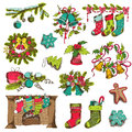 Set of christmas elements for design and scrapbook in Royalty Free Stock Photography