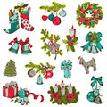 Set of christmas elements for design and scrapbook in Stock Photography