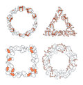 Set 4 Christmas framework from festive elements. Decor of text Royalty Free Stock Photo