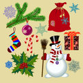 Set of Christmas with funny snowman and Christmas decorations an