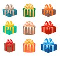 Set of christmas gifts boxes in holiday packages with bowknots. Christmas holiday presents realistic design.