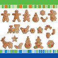 Set of Christmas gingerbread cookies. Royalty Free Stock Images