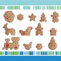 Set of Christmas gingerbread cookies Stock Image