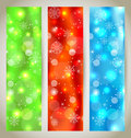 Set Christmas glossy banners with snowflakes Stock Photography