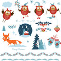 Set of christmas graphic elements Royalty Free Stock Photos