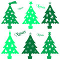 Set of christmas green tree decoration collection Royalty Free Stock Photo