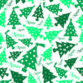Set of christmas green tree decoration seamless pattern eps10 Royalty Free Stock Photo