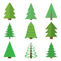 Set of Christmas green trees. Vector illustrations Royalty Free Stock Photo