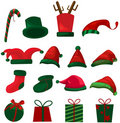 Set of christmas hat and gifts Stock Image
