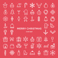 Set of christmas holiday outline thin line icons set Royalty Free Stock Photo