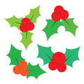 Set of Christmas holly leaves. Vector illustration