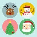 Set of christmas icon. santa,raindeer,snowman,christmas tree.