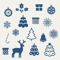 Set of Christmas icons. Stock Photos