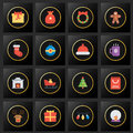 Set of christmas icons on black and golden background Royalty Free Stock Photo