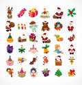 Set of christmas icons cartoon vector illustration Stock Images