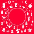 Set of christmas icons, christmas-tree decorations, patterns for greeting cards, flat vector illustration Royalty Free Stock Photo