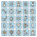 Set of christmas icons dingerbreads vector illustration for your website or packaging design and fabric Stock Image