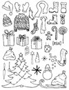 Set of Christmas icons in doodle style Royalty Free Stock Photo