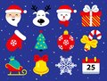 Set of Christmas icons in flat style on blue