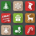 Set of christmas icons in flat style simple new year with long shadow effect qualitative vector eps graphics for new years day Stock Photo