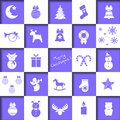Set of christmas icons, christmas-tree decorations, patterns for greeting cards, flat vector illustration
