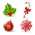 Set of christmas icons on white Royalty Free Stock Photography